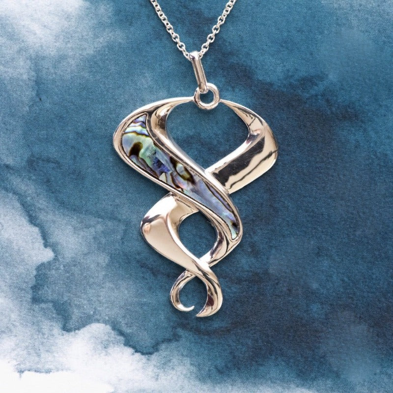 Snake design Paua inlay Sterling Silver pendant - Canterbury Jewellers Shop
