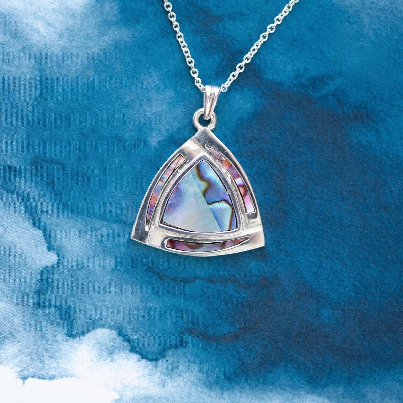 Trilliant Sterling silver pendant with natural NZ Paua shell inlay - Canterbury Jewellers Shop