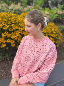 Adult super soft sweatshirt peach polka dot
