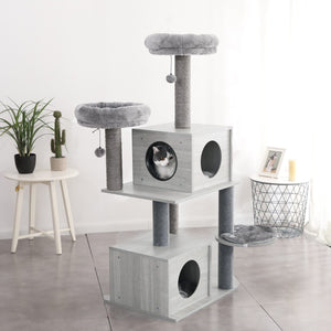 Premium Cat Supplies® Cat Tree Cat Tree Tower Condo House, Scratches Post Toy for Cat & Kittens. Clumping-Cat-Litter
