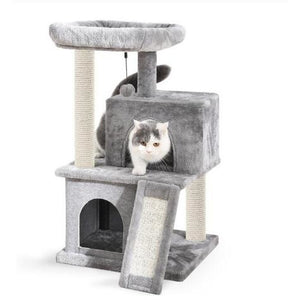 Premium Cat Supplies® Fast Domestic Delivery Pet Cat Tree Tower Condo House Scratcher Post Toy for Cat Kitten Cat Jumping Toy with Ladder Playing Tree Clumping-Cat-Litter