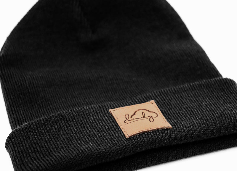 "Beanie ""cloudy"" black/ leather patch"