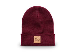 "Beanie ""cloudy"" burgundy/ leather patch"