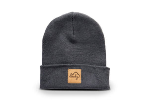 "Beanie ""cloudy"" graphite grey/ leather patch"