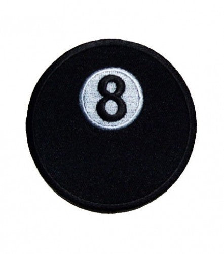 "A ""8 BALL"" ROUND WOVEN PATCH, ACCESSORIES"