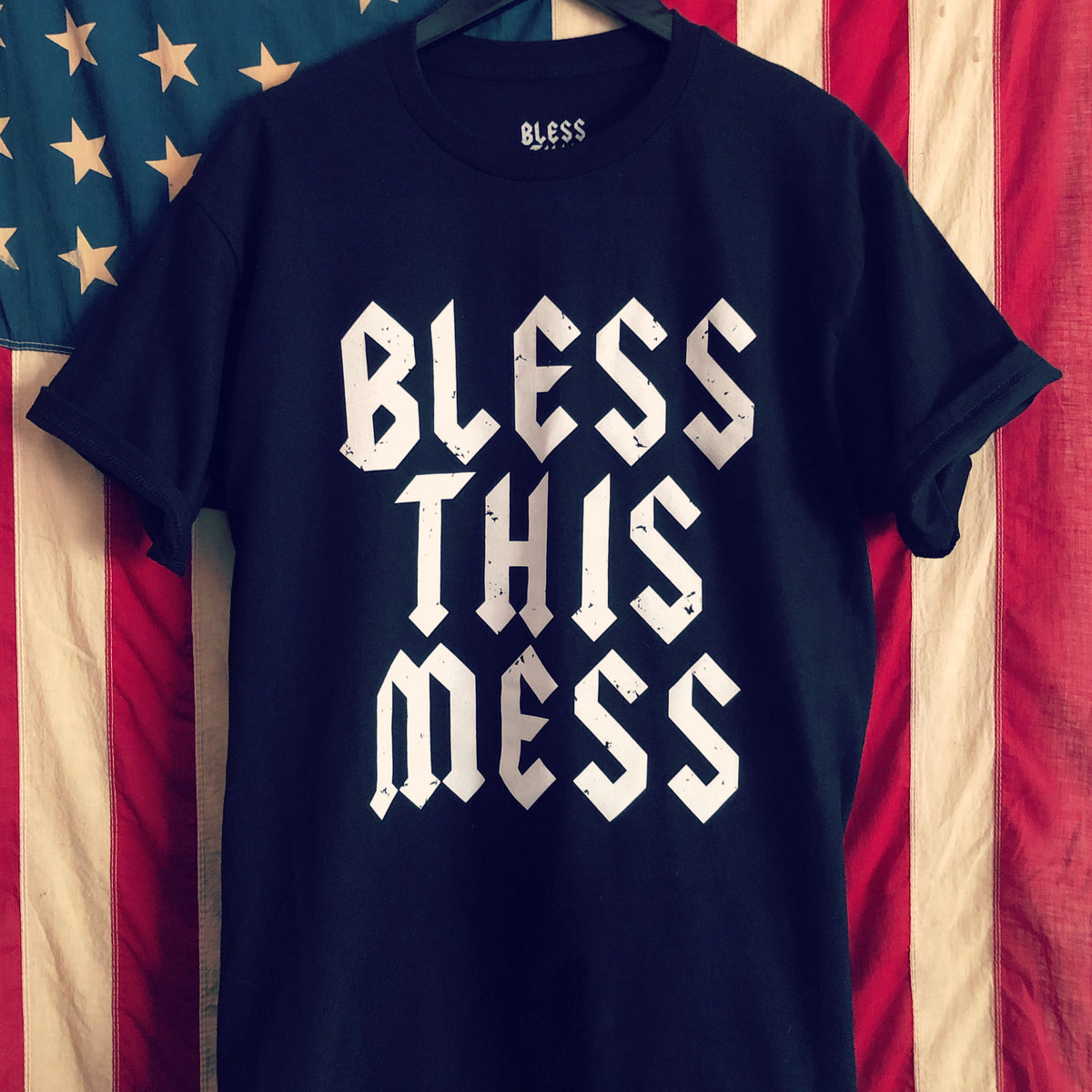 "A ""BLESS THIS MESS, AC/DC"" TSY T-SHIRT, BLACK (NEW!)"