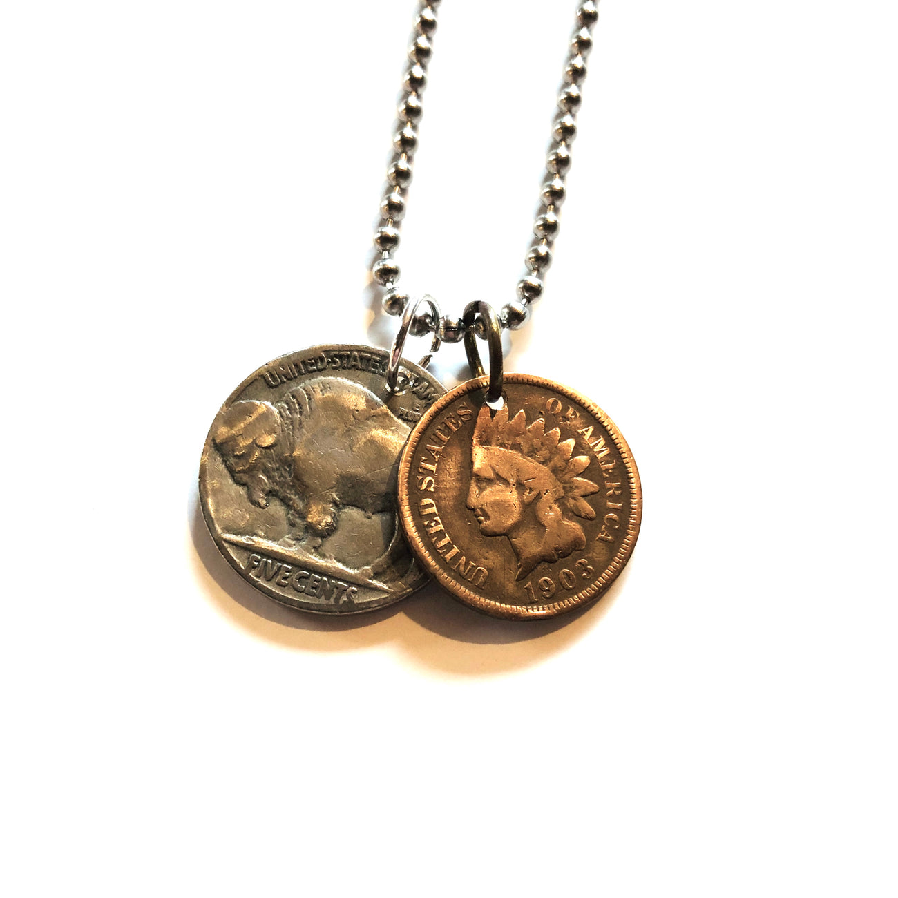 A TSY Buffalo Nickel & Indian Head Wheat Penny Coin Pendant Necklace, Jewelry, NEW!