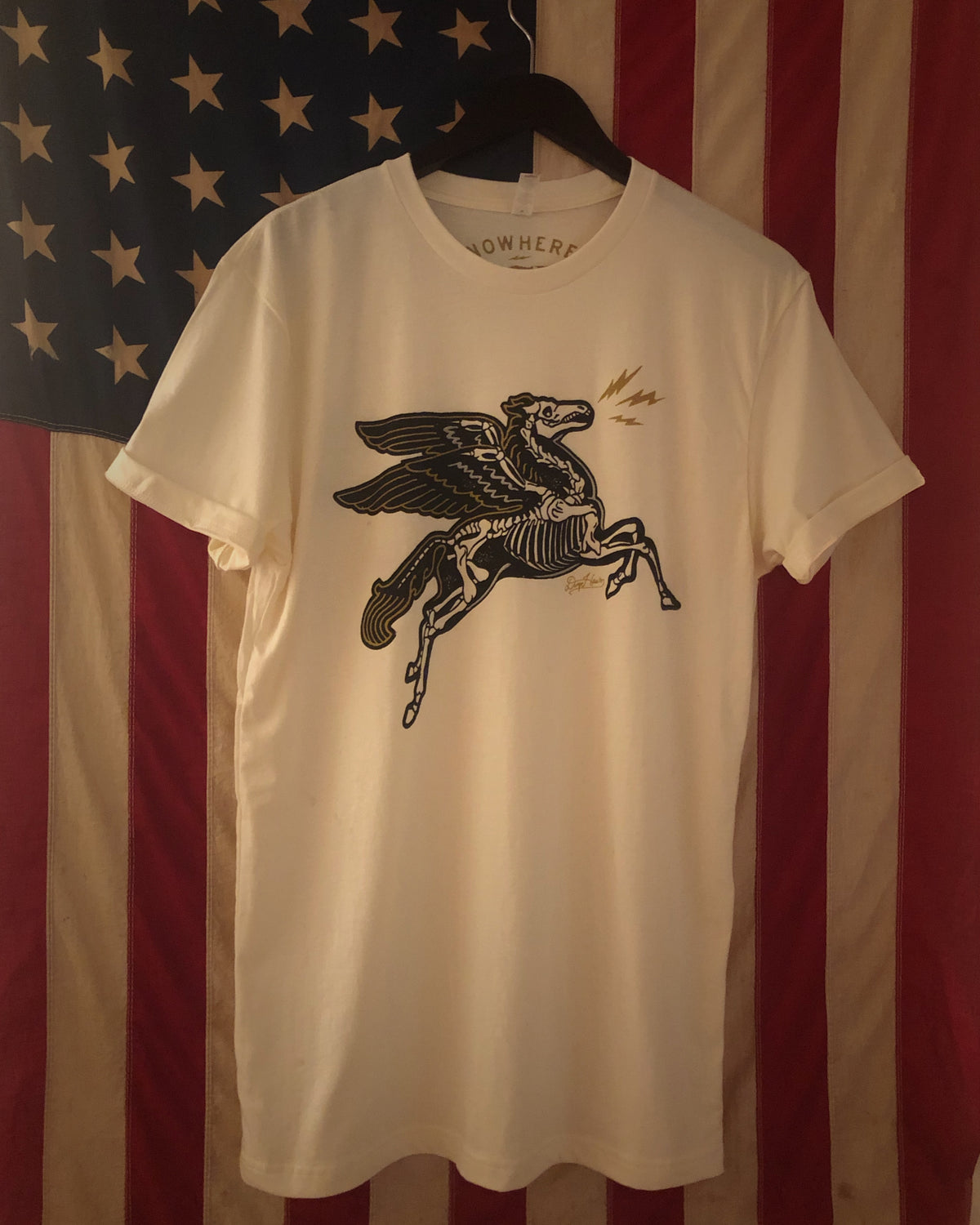 "A ""DHAAS x TSY LIMITED EDITION DEATH PEGASUS"" TEE T-SHIRT, NATURAL (XL ONLY!)"