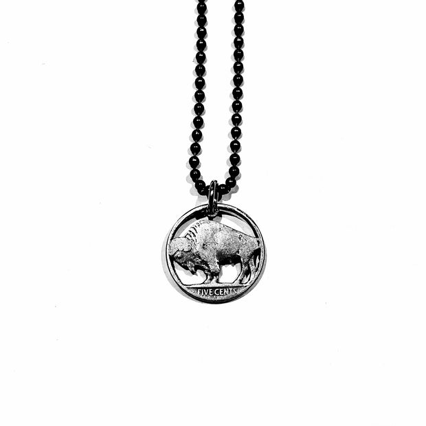 A TSY Hand-Cut Buffalo Nickel Coin Pendant Necklace, Jewelry, NEW!