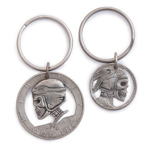 Silver Piston - Helmet Hobo Skull Half Dollar Key Fob *FINAL SALE!