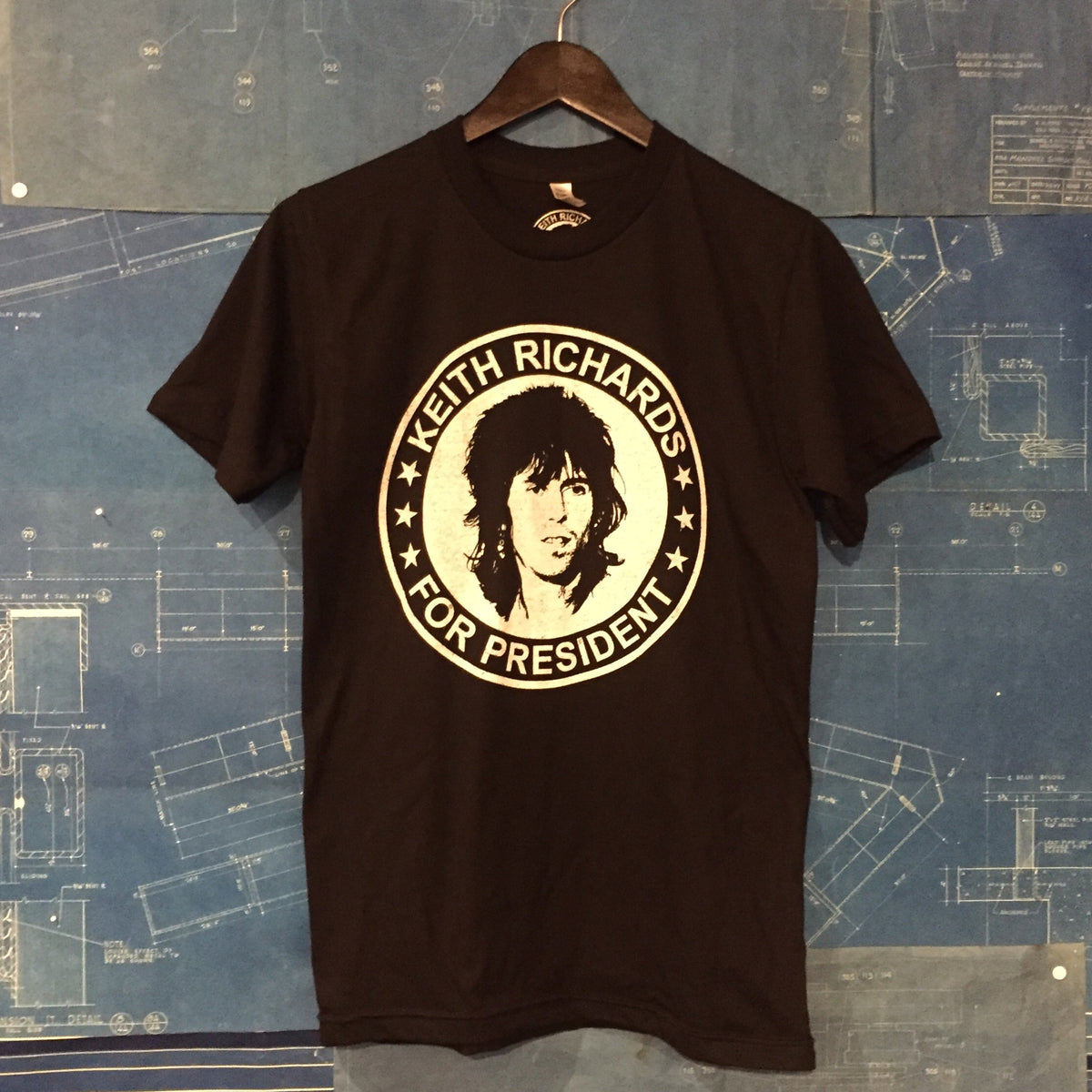 "A ""KEITH RICHARDS FOR PRESIDENT"" MEN'S TSY T-SHIRT, BLACK"