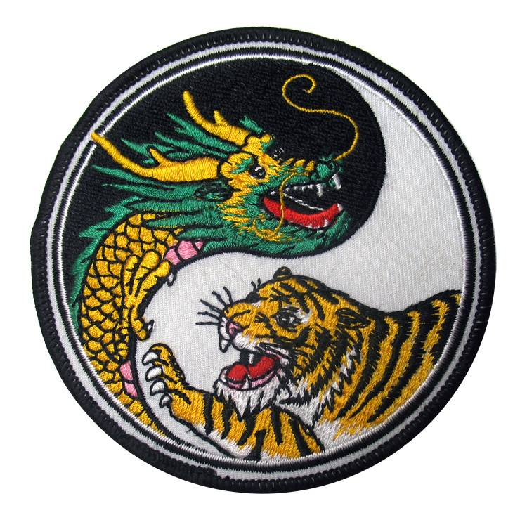 """CHINESE DRAGON, TIGER, YIN YANG"" ROUND WOVEN PATCH, ACCESSORIES"