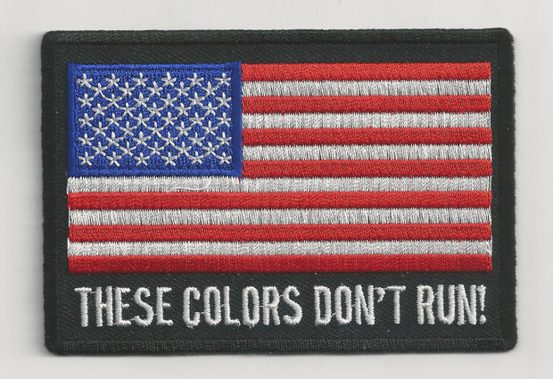 """AMERICAN FLAG THESE COLORS DON'T RUN"" 3"" x 2"" WOVEN PATCH, ACCESSORIES"