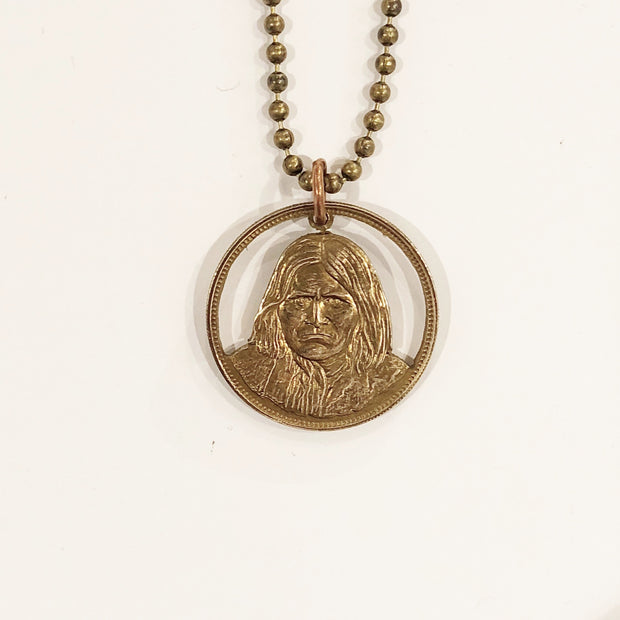 "A TSY Hand-Carved ""Geronimo"" Native American Bronze Coin Pendant Necklaces, Jewelry, NEW!"