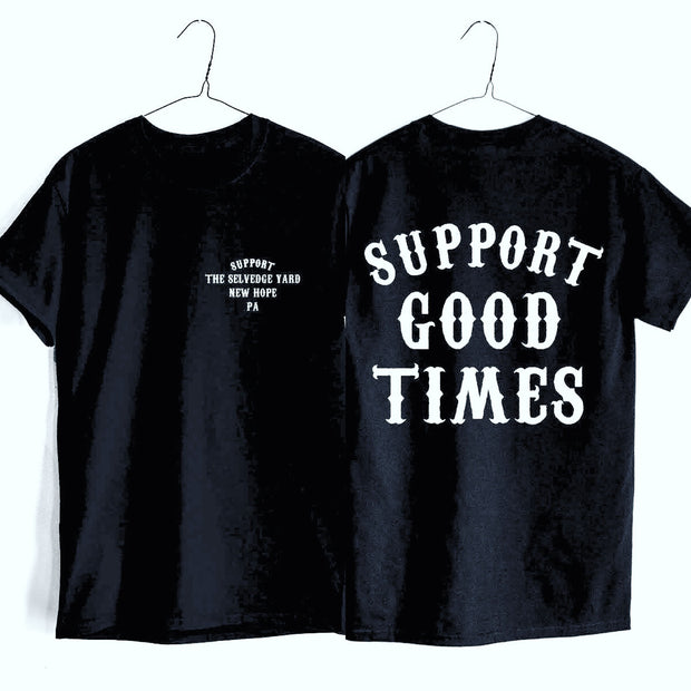 "A ""THE SELVEDGE YARD x SUPPORT GOOD TIMES"" MEN'S SHORT SLEEVE TSY SHOP T-SHIRT (SMALL), BLACK ~FINAL SALE!"