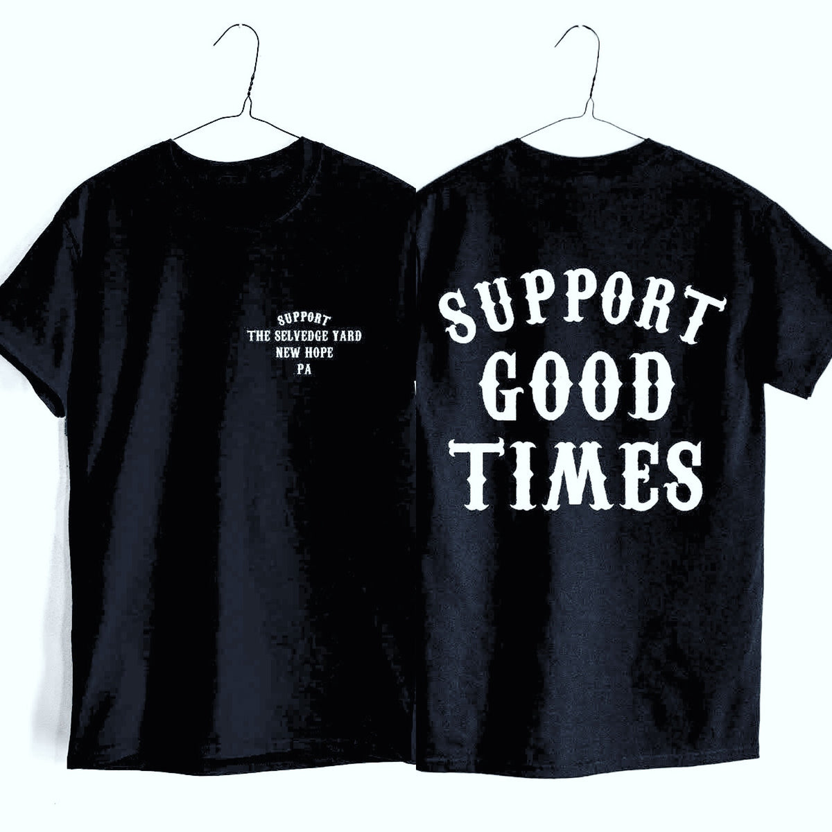 "A ""THE SELVEDGE YARD x SUPPORT GOOD TIMES"" MEN'S SHORT SLEEVE TSY T-SHIRT, BLACK"