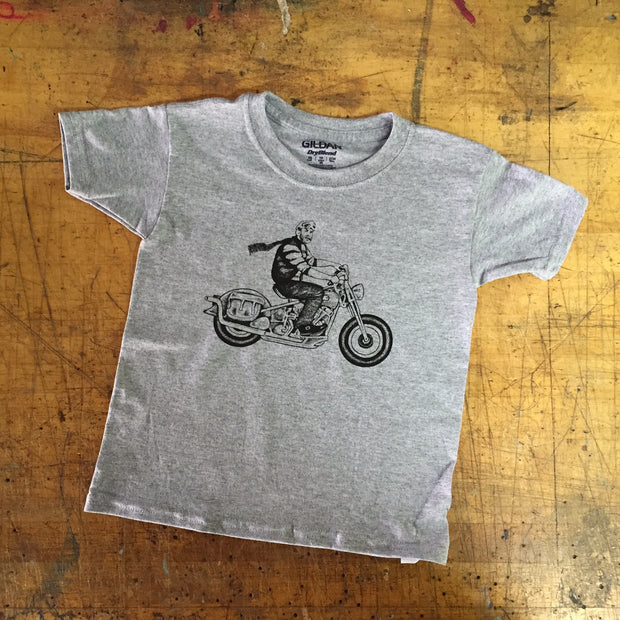 "A ""THE WILD ONE CHINO"" KID'S TEE, GREY"