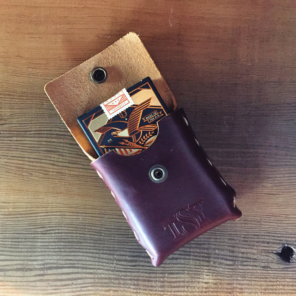 A TSY LEATHER CARD CASE, SLG, HOME