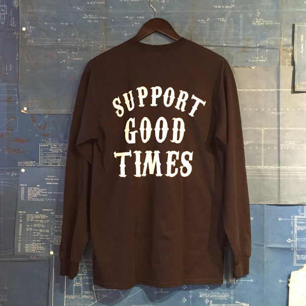 "A ""THE SELVEDGE YARD x SUPPORT GOOD TIMES"" TSY BLACK LONG SLEEVE TEE T-SHIRT"