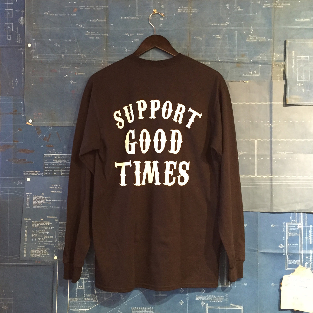 "A ""THE SELVEDGE YARD x SUPPORT GOOD TIMES"" MEN'S TSY SHOP T-SHIRT, BLACK LONG SLEEVE ~FINAL SALE!"