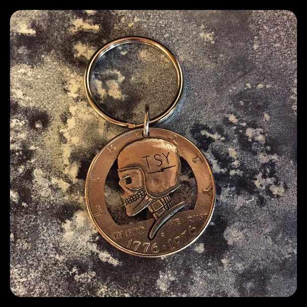 "Silver Piston - ""TSY"" Helmet Hobo Bicentennial Half Dollar Key Fob *FINAL SALE!"