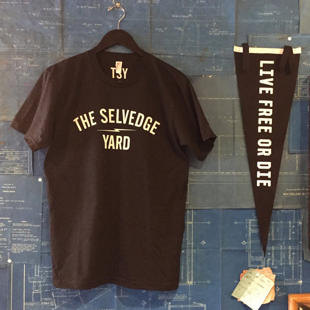 "A ""THE SELVEDGE YARD LOGO"" MEN'S TSY T-SHIRT, BLACK ~FINA SALE!"