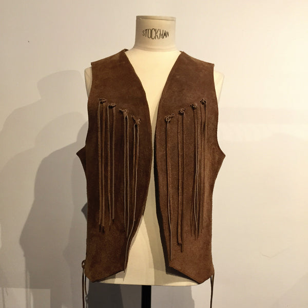 TSY Vintage Womens 1960s Hand Made Suede Vest w/Fringe