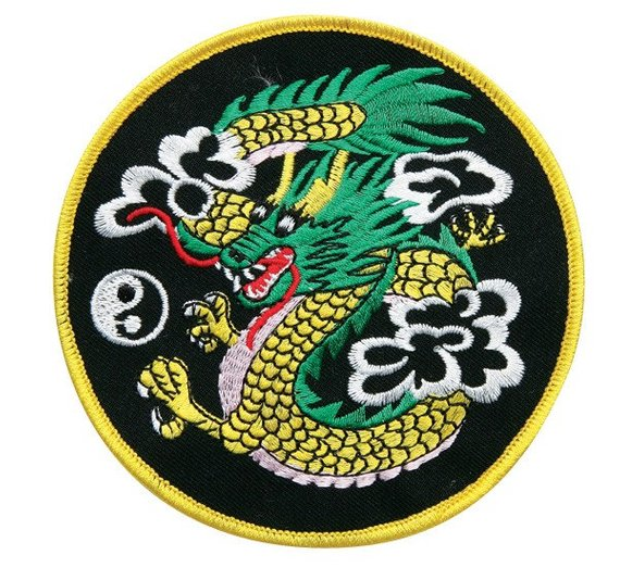 """CHINESE DRAGON & YIN YANG"" ROUND WOVEN PATCH, ACCESSORIES"