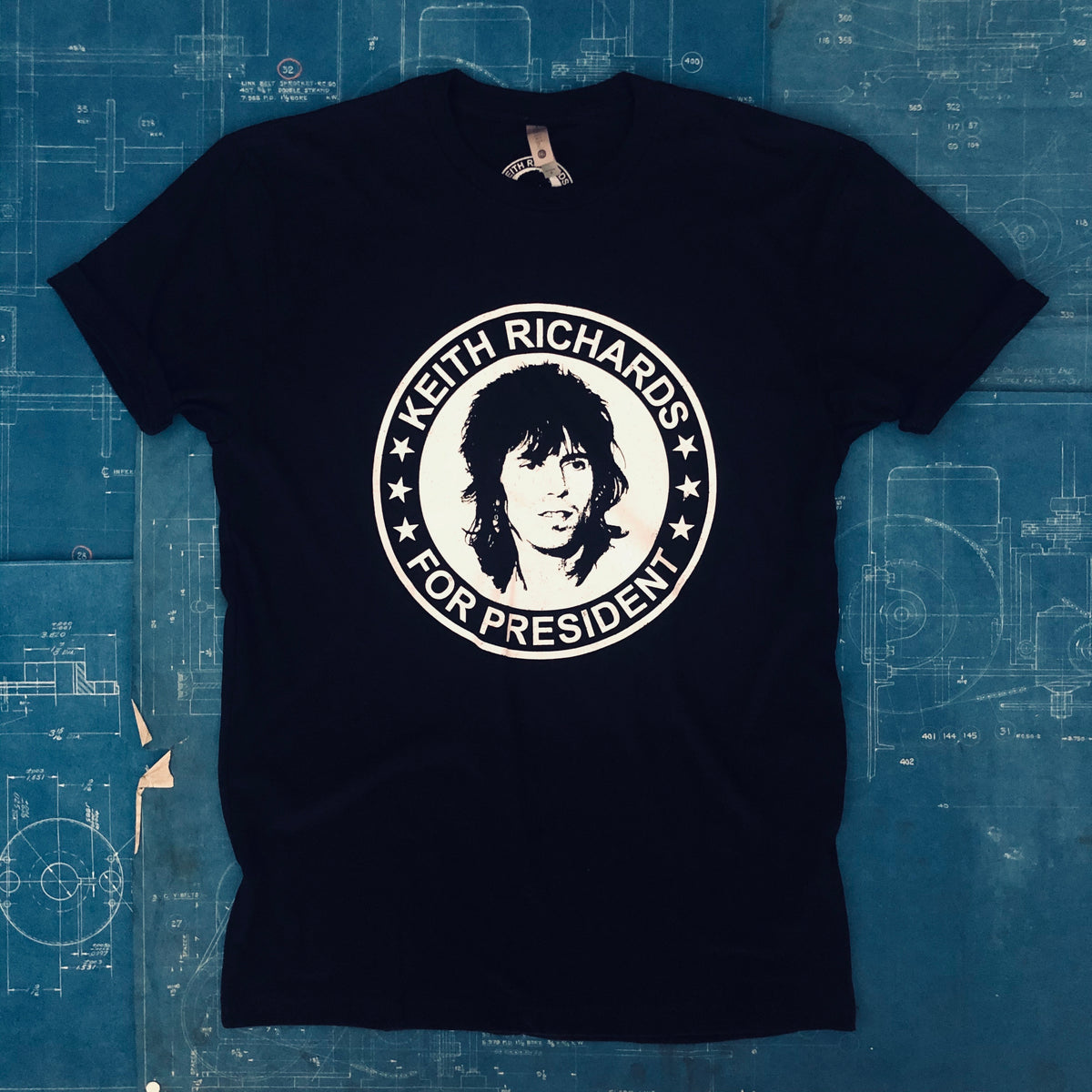 A KEITH RICHARDS FOR PRESIDENT TSY T-SHIRT, BLACK