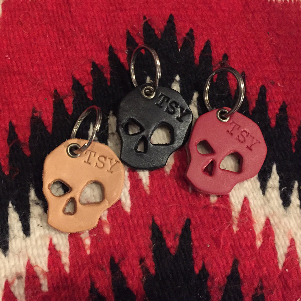 A TSY x BillyKirk Leather Skull + Heart Key Fob, SLG, Black, Red, Natural ~ NEW!