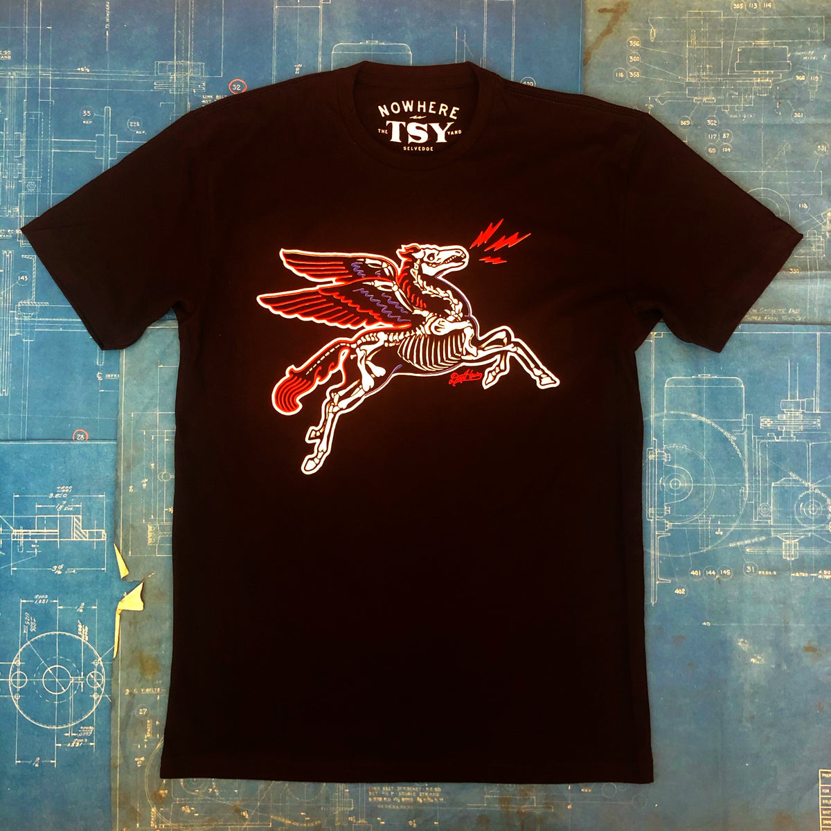 "LIMITED EDITION ""NOWHERE FAST x TSY DEATH PEGASUS"" TEE T-SHIRT, 3 COLOR ON BLACK"