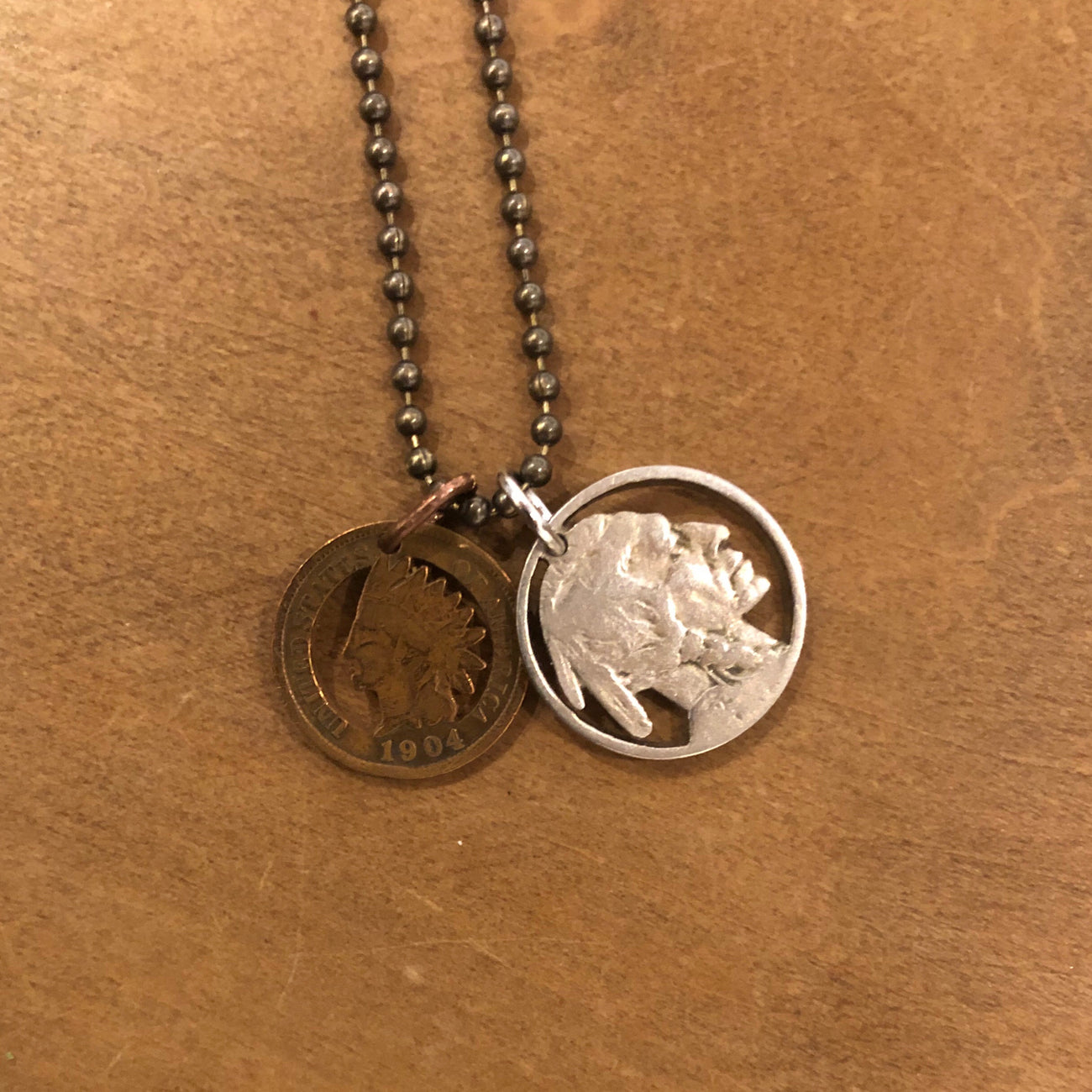 A TSY Hand-Cut Indian Nickel & Penny Vintage Coin Pendant Necklace, Jewelry, FINSL SALE!