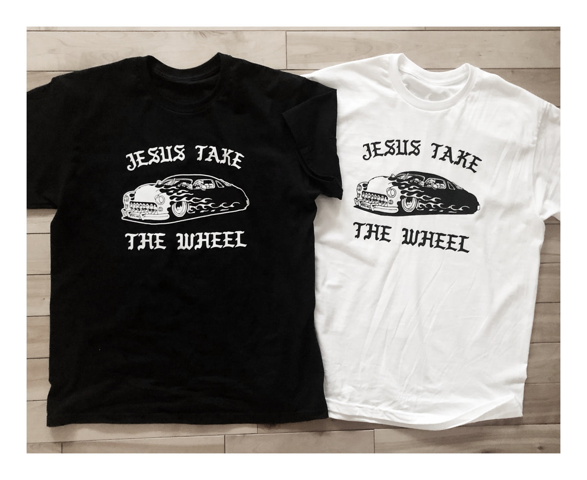 """JESUS TAKE THE WHEEL"" TSY T-SHIRT, WHITE (NEW!)"
