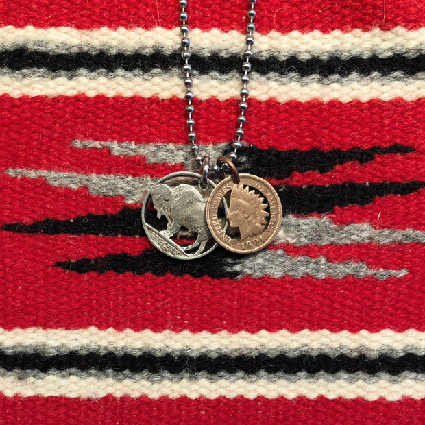 A TSY Hand-Cut Buffalo Nickel & Indian Head Penny Coin Pendant Necklace, Jewelry, NEW!