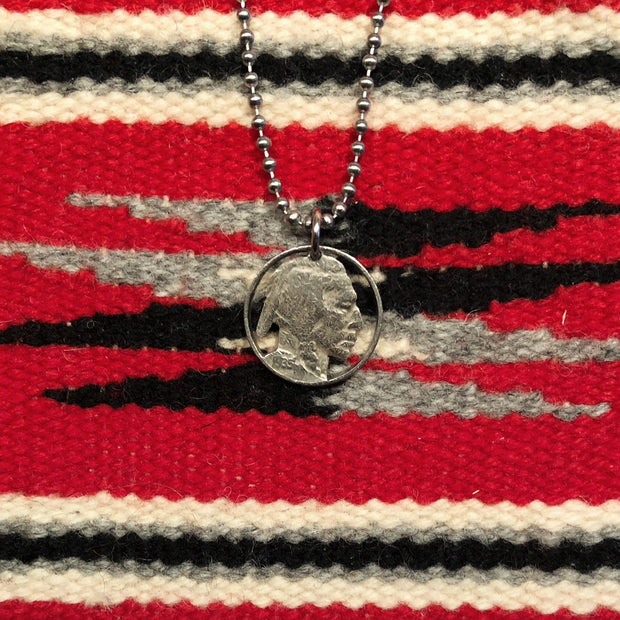 A TSY Hand-Cut Indian Head Nickel Coin Pendant Necklace, Jewelry, NEW!