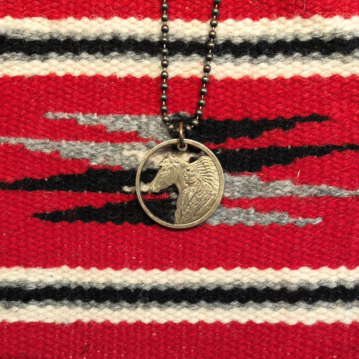 A TSY Hand-Cut Native American Indian + Horse Bronze Coin Pendant Necklaces, Jewelry, final sale!