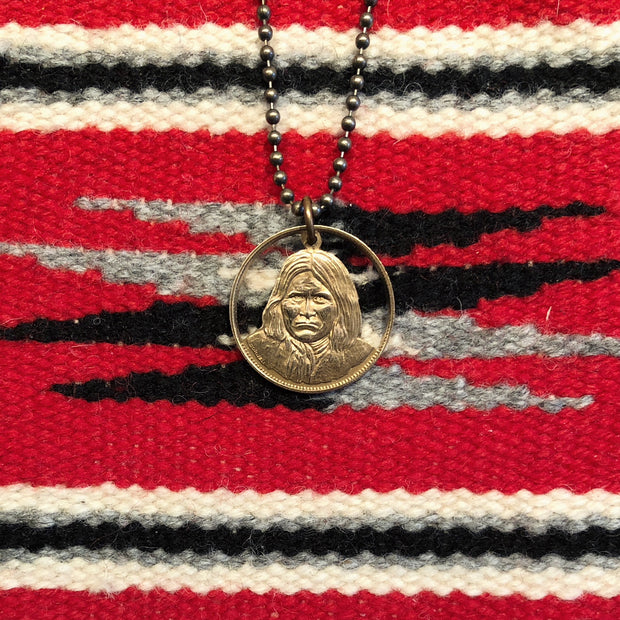 "A TSY Hand-Cut ""Geronimo"" Native American Bronze Coin Pendant Necklaces, Jewelry, NEW!"