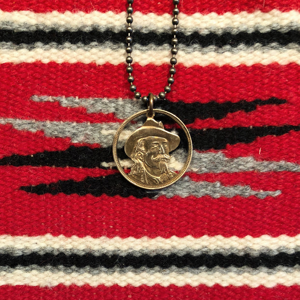 "A TSY Hand-Cut ""Wild Bill Hickock""Brass Coin Pendant Necklaces, Jewelry, FINAL SALE!"