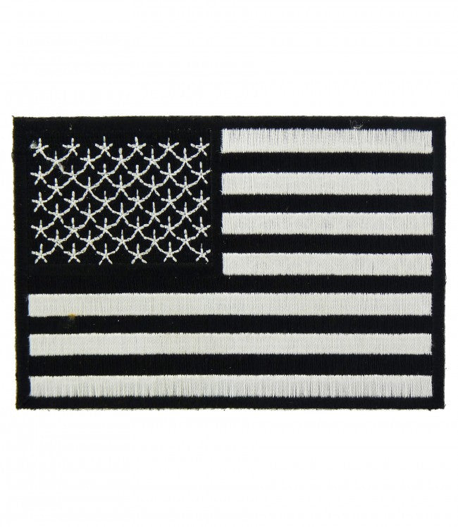 """AMERICAN FLAG"" 3"" x 2"" B;LACK & WHITE WOVEN PATCH, ACCESSORIES"