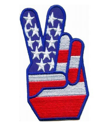 """AMERICAN US FLAG TWO FINGER SALUTE"" WOVEN PATCH, ACCESSORIES"