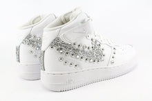 Load image into Gallery viewer, NIKE MID GLITTER ARGENTO STRASS BORCHIE TONDE