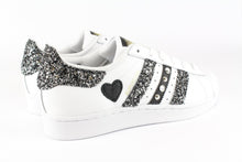Load image into Gallery viewer, SUPERSTAR GLITTER BLACK SILVER STRASS CUORE