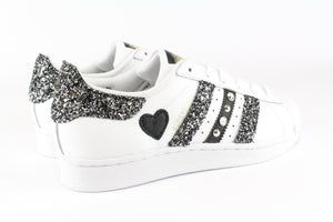 SUPERSTAR GLITTER BLACK SILVER STRASS CUORE