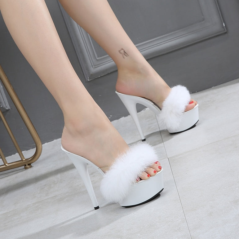 Super High heel Slippers Rabbit Hair
