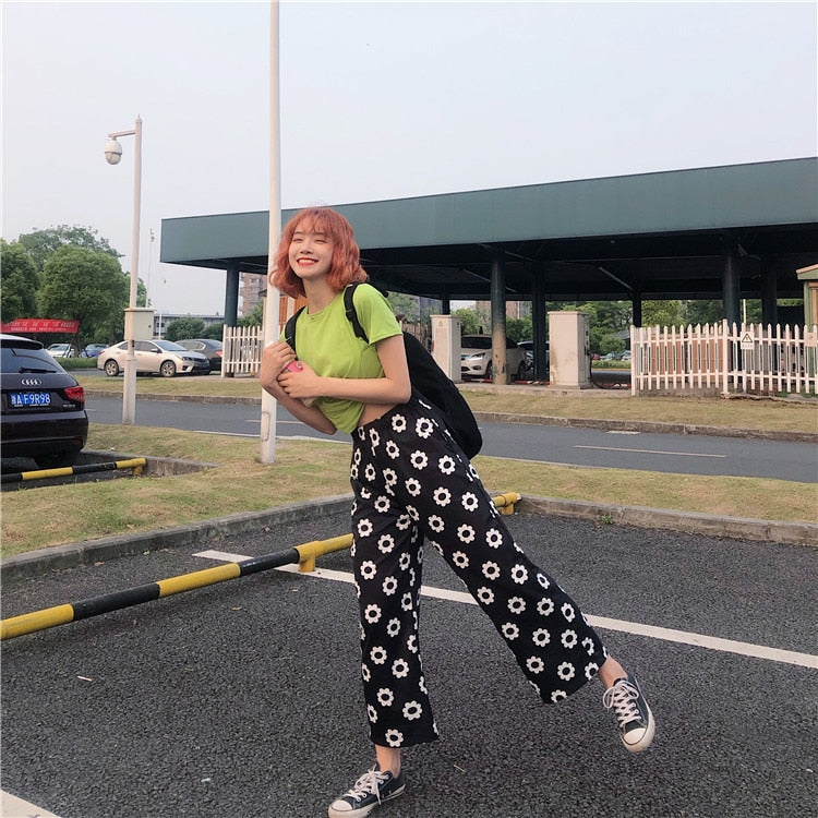 Casual Flower Loose Straight Pants Female