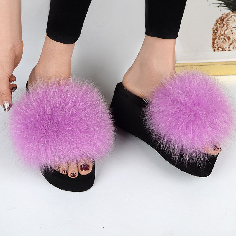 Fox Fur Sandals Lady Fluffy Slides