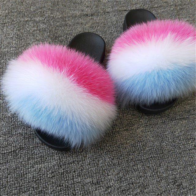 Comfort Furry Slipper With Feather