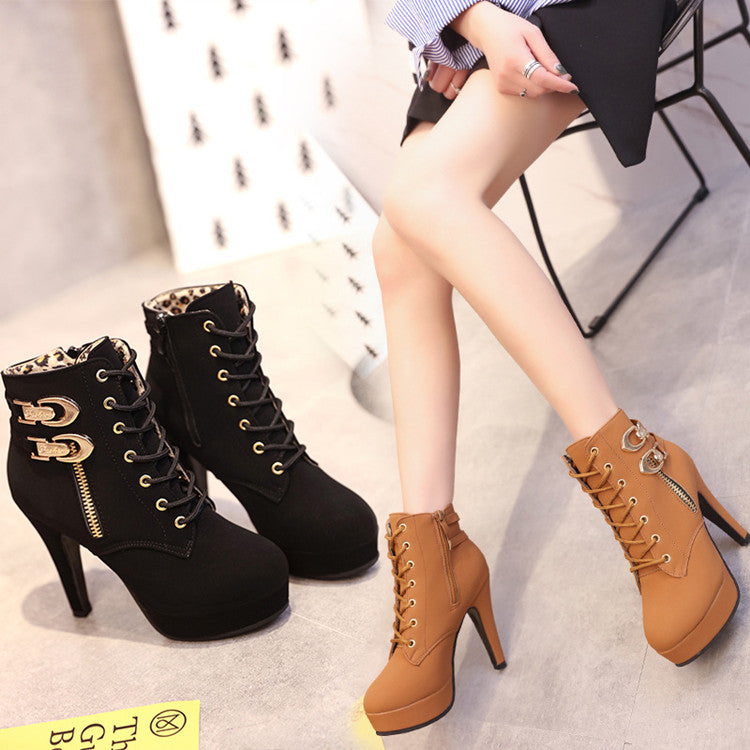 High heel boots waterproof platform