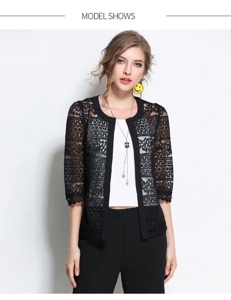Crochet sexy Lace blouse shirt