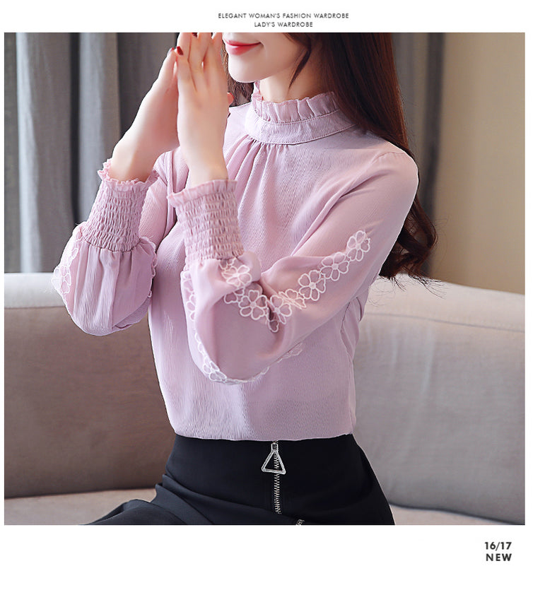 chiffon blouse shirt long sleeve women